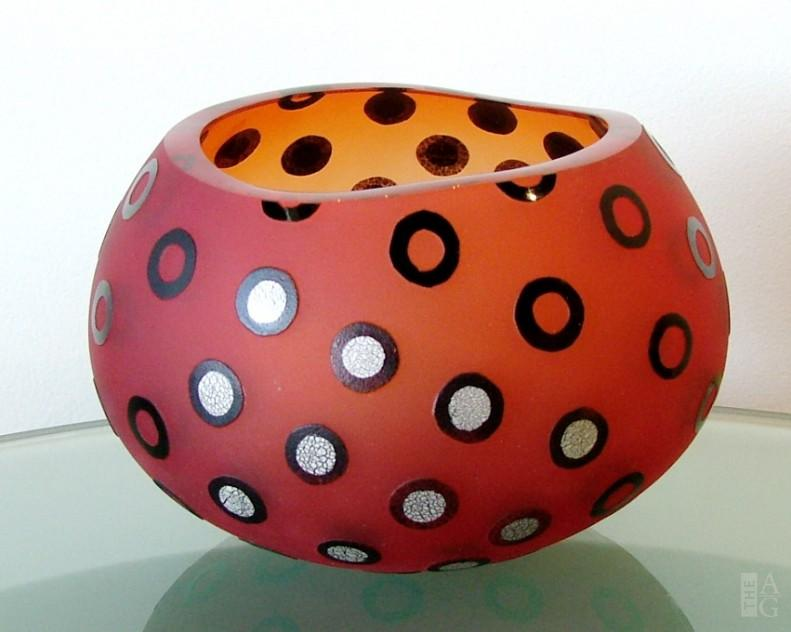 Red Glass African Basket Bowl by Naoko Takenouchi at The Avenue Gallery, a contemporary fine art gallery in Victoria, BC, Canada.