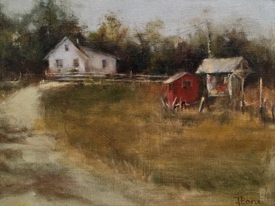 Classical landscape painting, London Farm, by Tanya Bone at The Avenue Gallery, a contemporary fine art gallery in Victoria, BC, Canada.