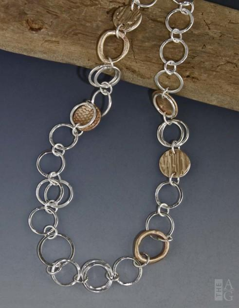 Argentium Silver and Bronze, Striation Heavy Chain by Linda Freedman Katz at The Avenue Gallery, a contemporary fine art gallery in Victoria, BC, Canada.