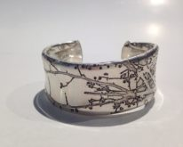 "Silver Etched ""Branch"" Bracelet by Sandra Noble Goss at The Avenue Gallery, a contemporary fine art gallery in Victoria, British Columbia, Canada."