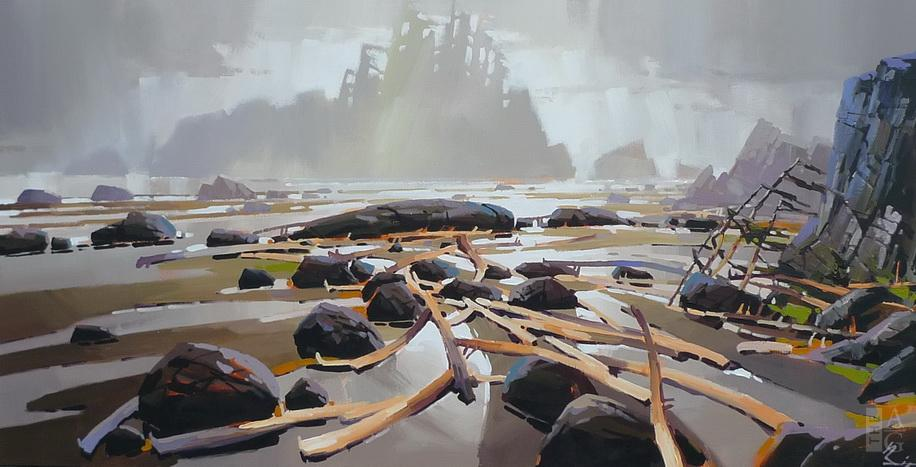 Landscape painting Stranded by artist Bi Yuan Cheng at The Avenue Gallery, a contemporary fine art gallery in Victoria, British Columbia.