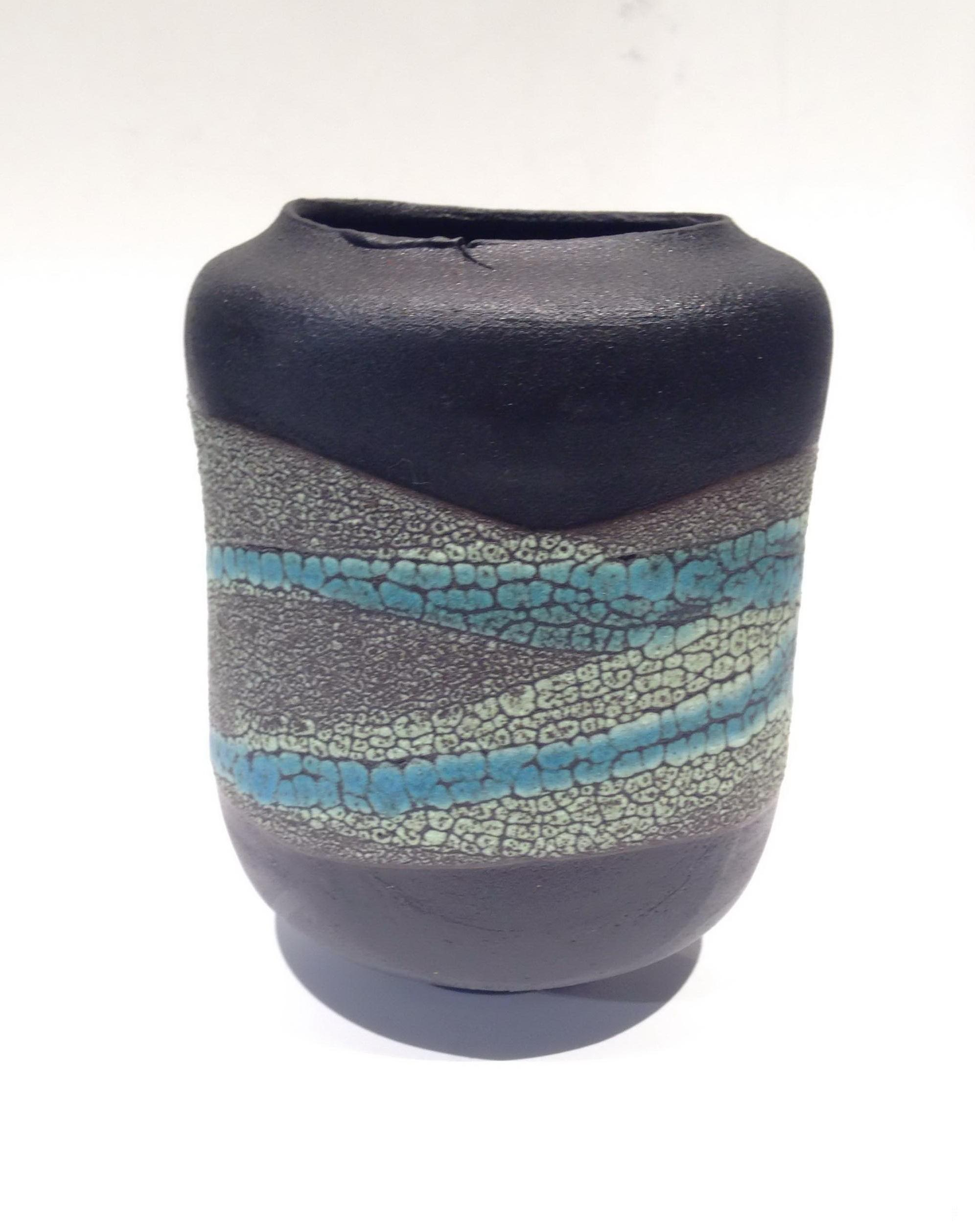 Organically-inspired Medium Turquoise Rock Vase by Sandra Dolph at The Avenue Gallery, a contemporary fine art gallery in Victoria, BC, Canada.
