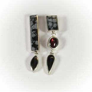 Snowflake Obsidian, Black Jade & Garnet Earrings by Brenda Roy at The Avenue Gallery, a contemporary fine art gallery in Victoria, BC, Canada.