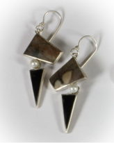 Picasso Jasper & Freshwater Pearl Earrings by jeweller Brenda Roy at The Avenue Gallery, a contemporary fine art gallery in Victoria, BC, Canada.