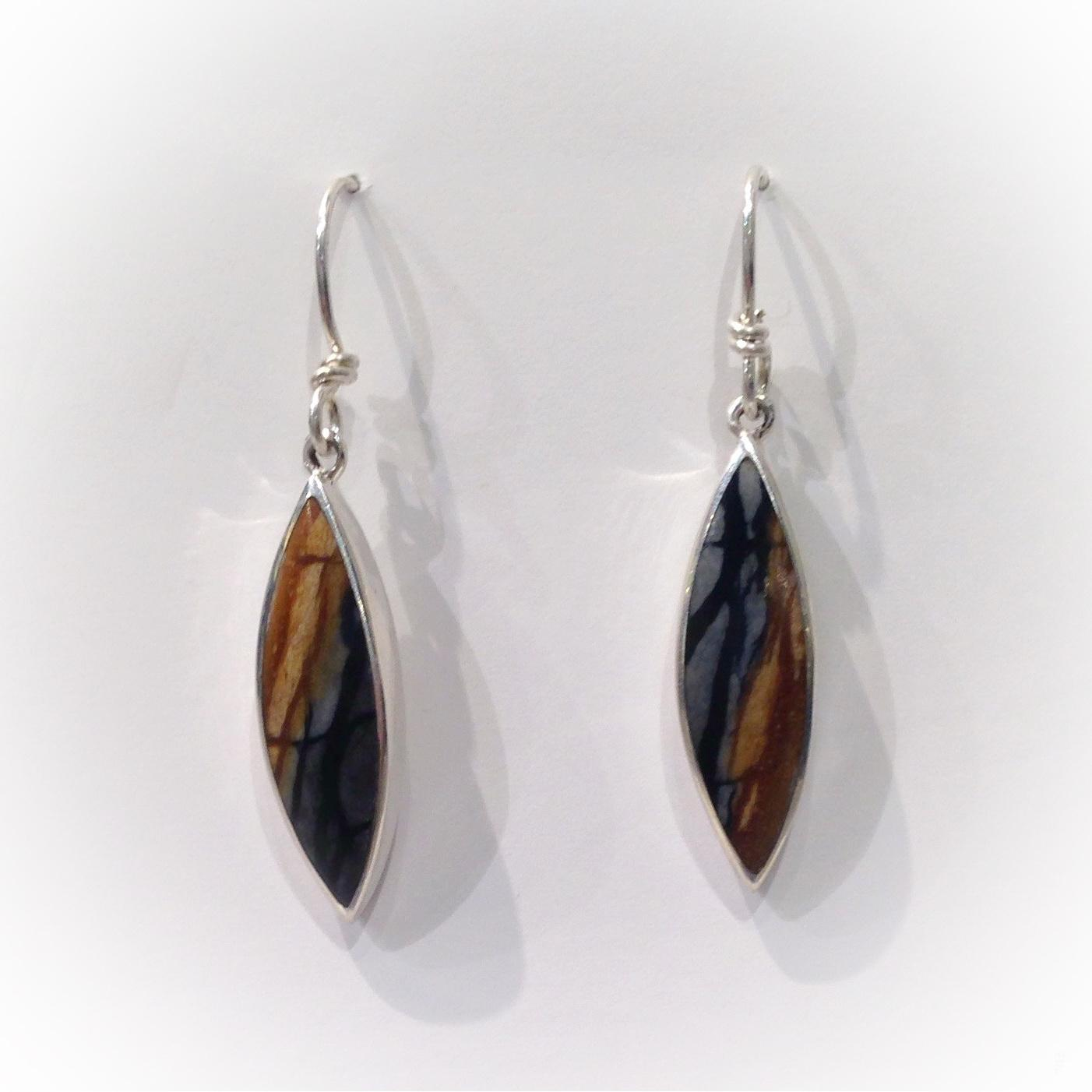 Handmade Picasso Jasper Earrings by jeweller Brenda Roy at The Avenue Gallery, a contemporary fine art gallery in Victoria, British Columbia, Canada.