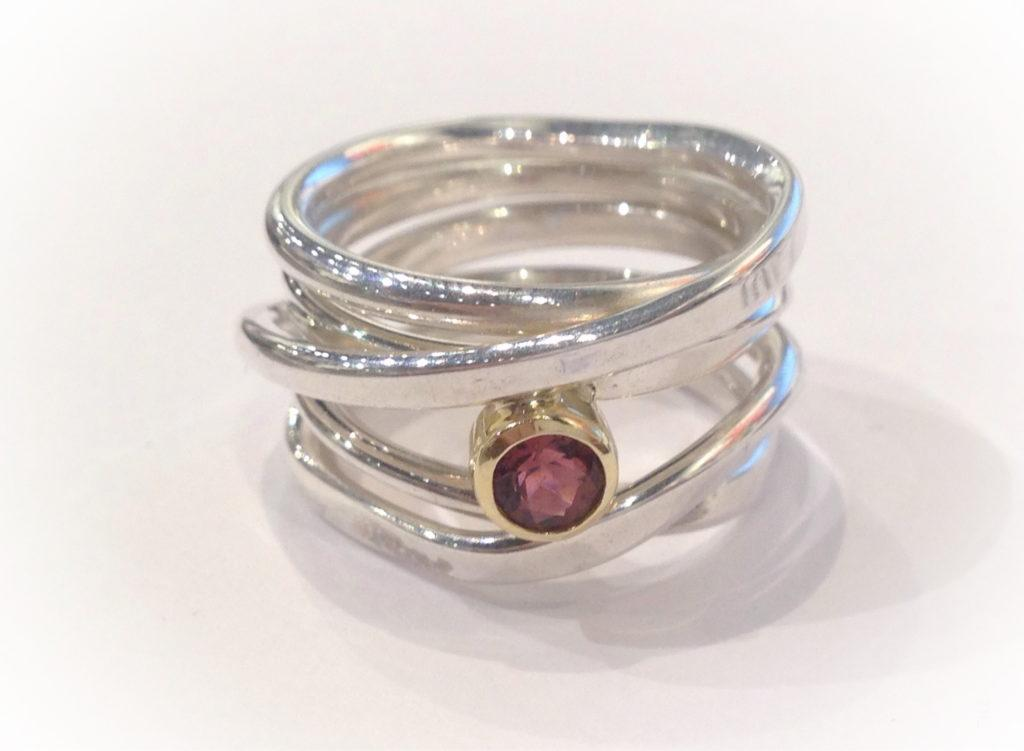 One-of-a-kind OneFooter Ring with Tourmaline in 18k Gold by Dorothée Rosen at The Avenue Gallery, a contemporary fine art gallery in Victoria, BC, Canada.