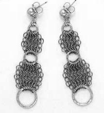 Titanium European Maille Earrings with Three Sterling Silver Hammered Rings by Anne Kelly at The Avenue Gallery, a contemporary fine art gallery in Victoria, BC, Canada.