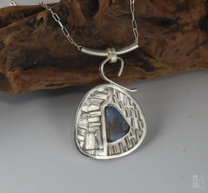 Argentium Silver Boulder Opal Pendant by Linda Freedman Katz at The Avenue Gallery, a contemporary fine art gallery in Victoria, BC, Canada.