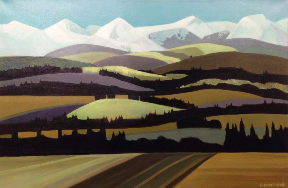 Essentialist landscape painting, Alberta Afternoon, by Lorna Dockstader at The Avenue Gallery, a contemporary fine art gallery in Victoria, BC, Canada.