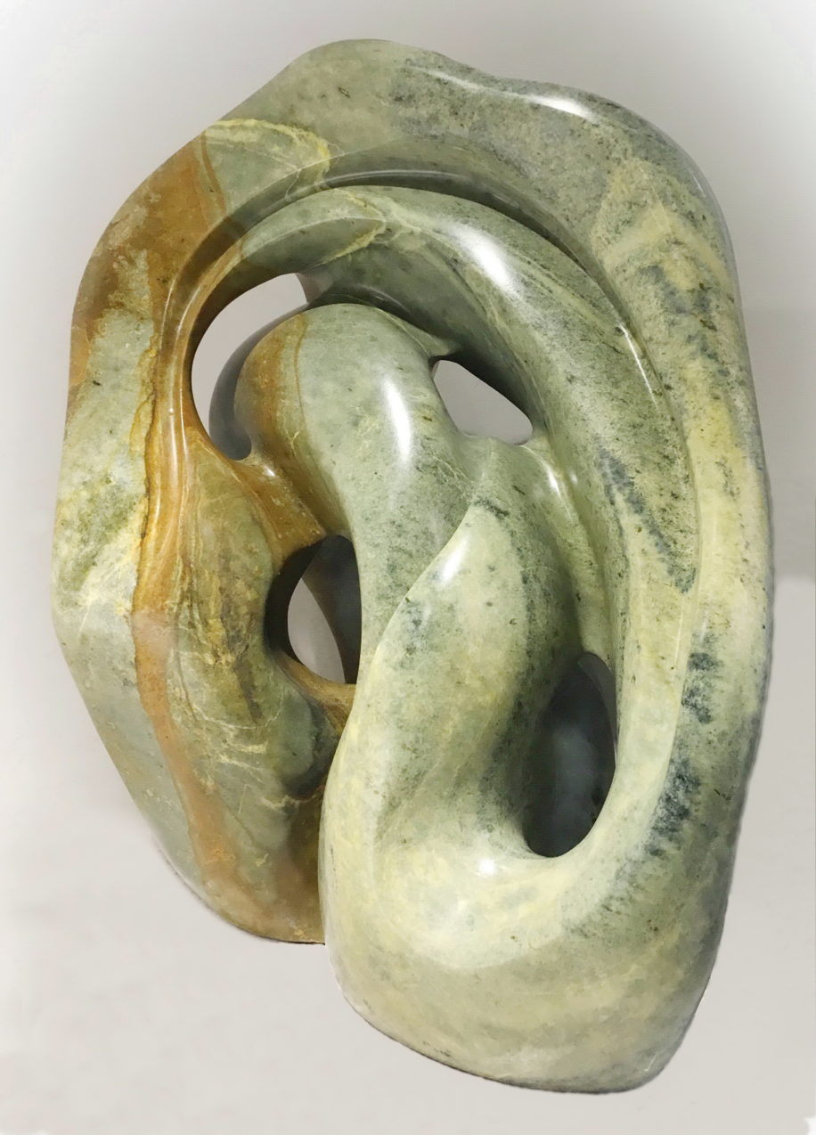 Abstract Brazilian soapstone sculpture, Ocean Breeze, by Nancy Street at The Avenue Gallery, a contemporary fine art gallery in Victoria, BC, Canada.