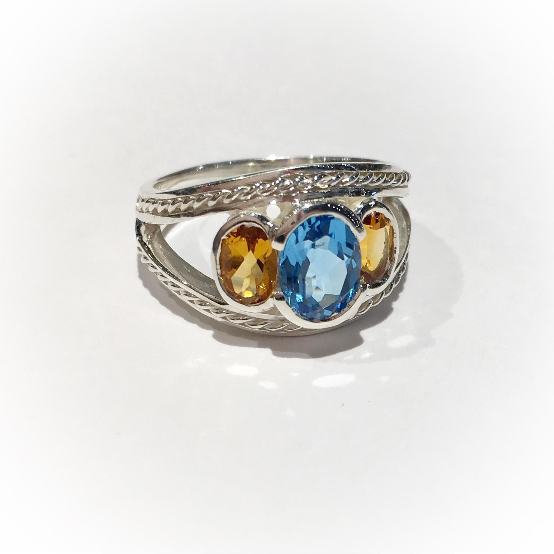 Open Silver Byzantine Ring with Blue Topaz and Citrine by Kevin Cremin at The Avenue Gallery, a contemporary fine art gallery in Victoria, BC, Canada.