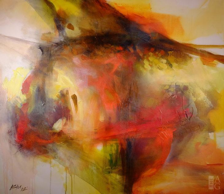 Abstract painting, Shimmer, by artist Blu Smith at The Avenue Gallery, a contemporary fine art gallery in Victoria, BC, Canada.