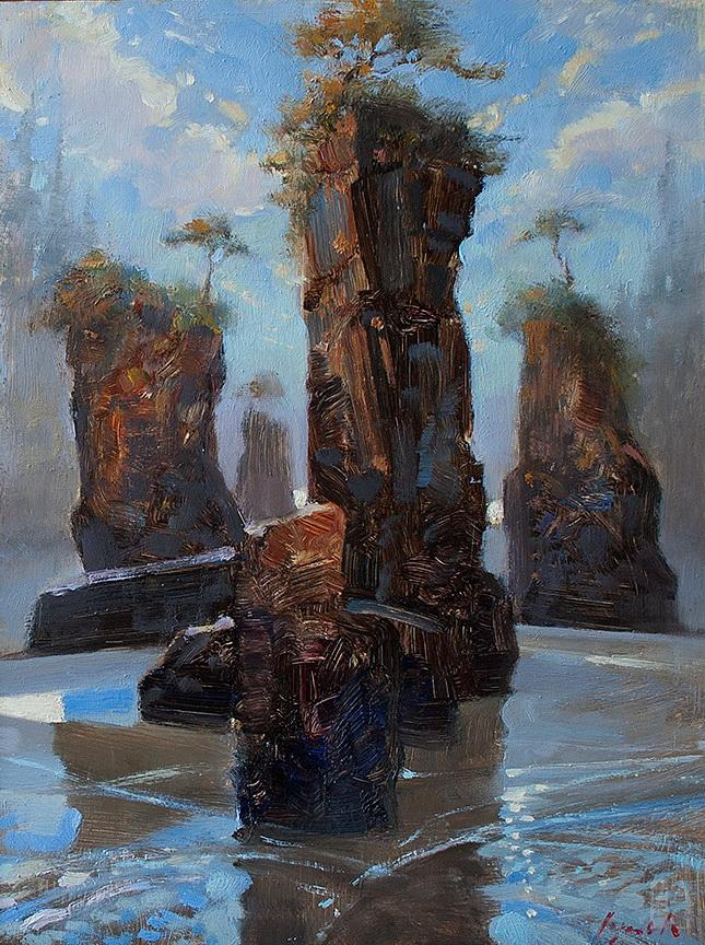 San Josef Stacks by painter Brent Lynch at The Avenue Gallery, a contemporary fine art gallery in Victoria, BC, Canada.