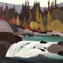 Landscape painting, Back at the Falls by Lorna Dockstader at The Avenue Gallery, a contemporary fine art gallery in Victoria, BC, Canada.