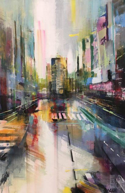 New York City painting, La Cité II by Yared Nigussu at The Avenue Gallery, a contemporary fine art gallery in Victoria, BC, Canada.