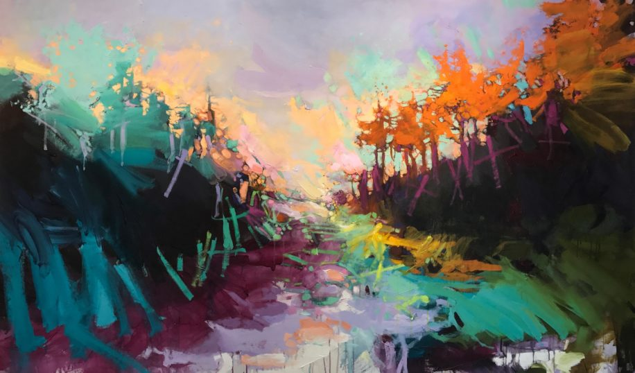 Abstracted landscape painting, Tequila Sunrise by Blu Smith at The Avenue Gallery, a contemporary fine art gallery in Victoria, BC, Canada.