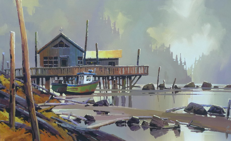 Coastal painting, Harbourside by Bi Yuan Cheng at The Avenue Gallery, a contemporary fine art gallery in Victoria, BC, Canada.