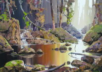 Landscape painting, Quiet River by Bi Yuan Cheng at The Avenue Gallery, a contemporary fine art gallery in Victoria, BC, Canada.