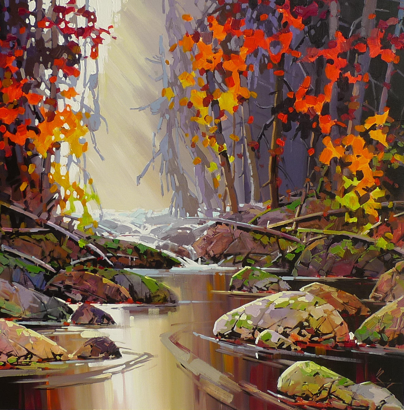 Coastal painting, Red Symphony by Bi Yuan Cheng at The Avenue Gallery, a contemporary fine art gallery in Victoria, BC, Canada.