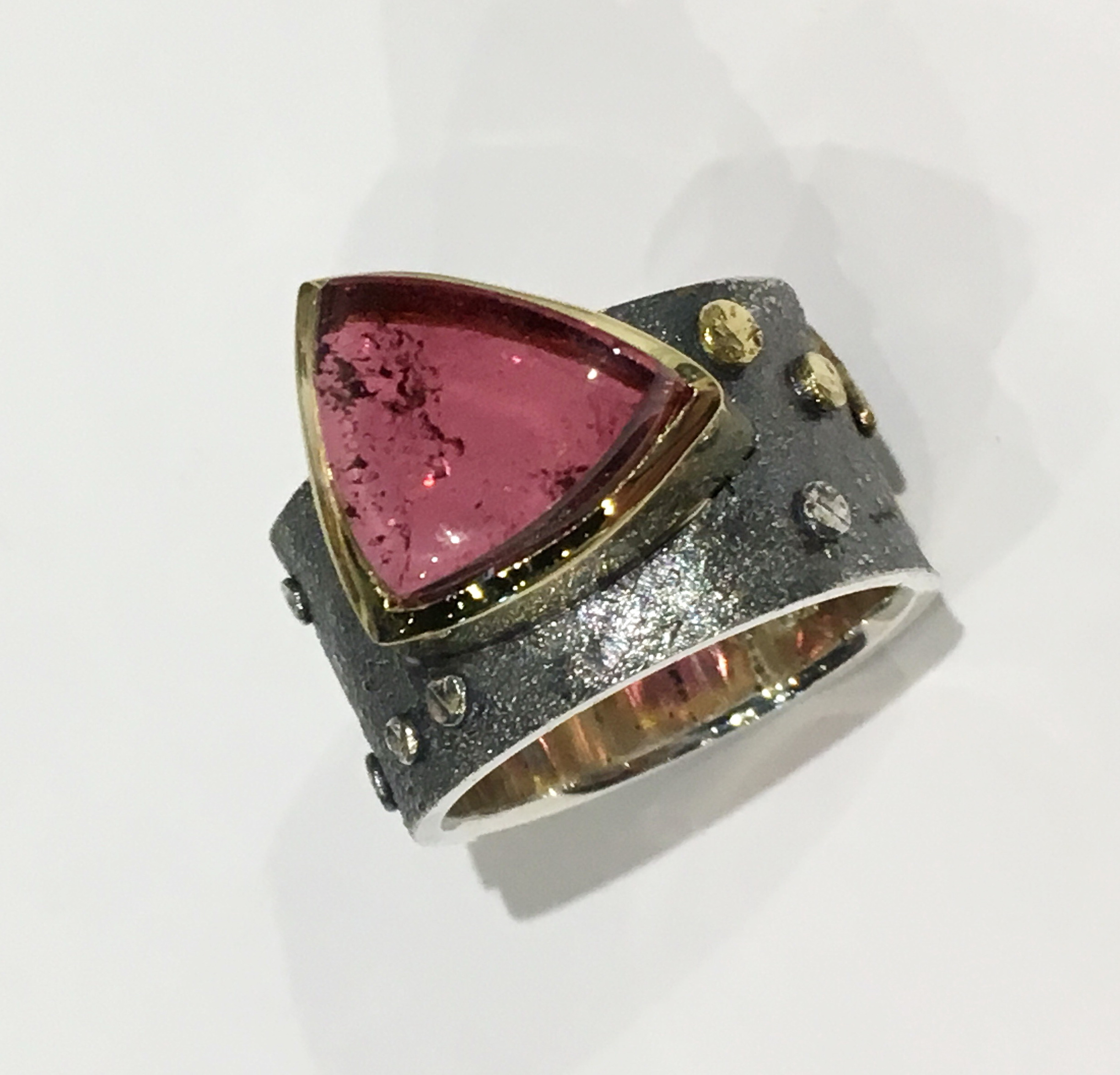 Sterling Silver & 18kt. Yellow Gold Ring with Pink Tourmaline by Dietje Hagedoorn at The Avenue Gallery, a contemporary fine art gallery in Victoria, BC, Canada.