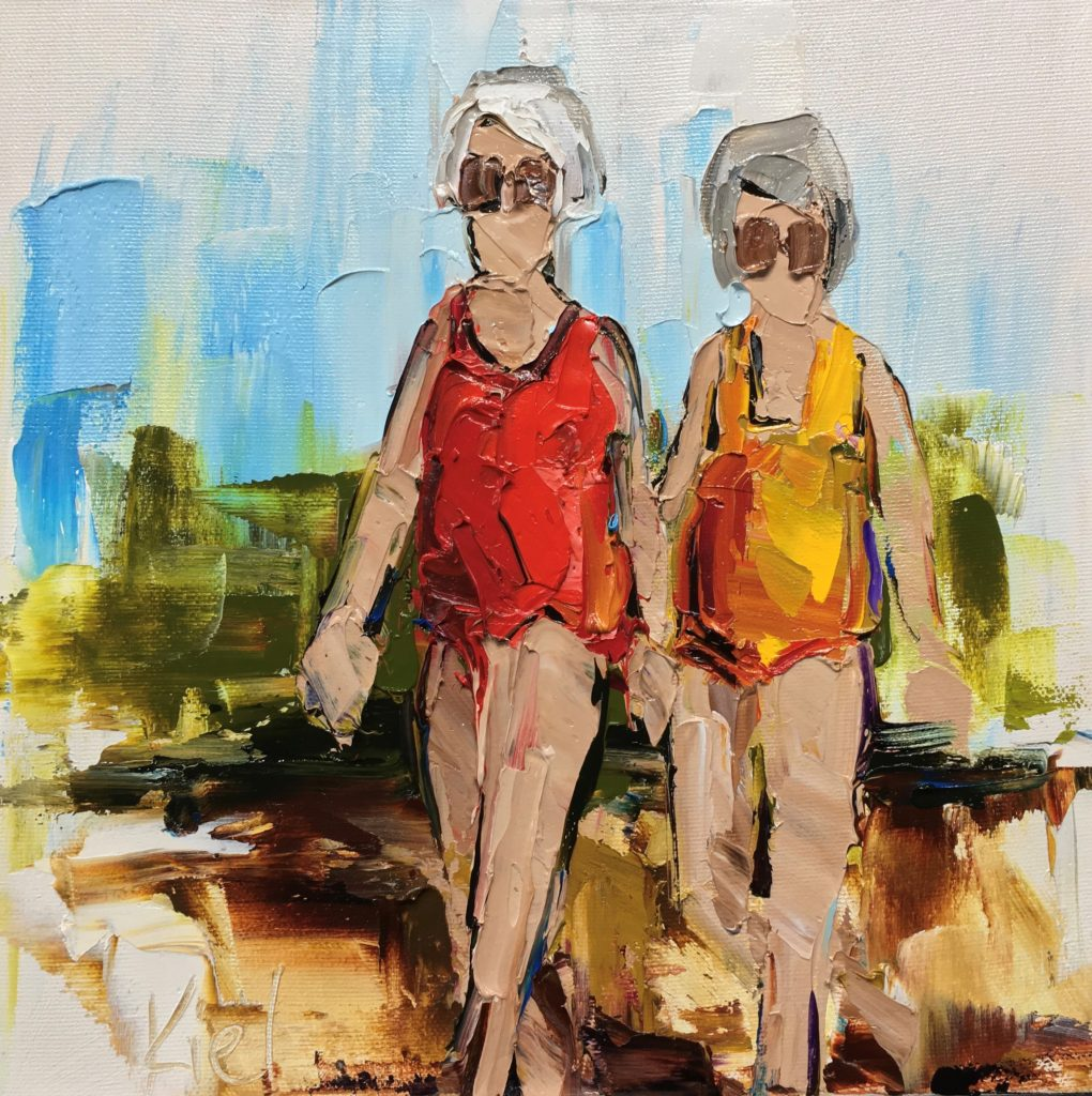 Figurative painting Long Time Friends by Kimberly Kiel at The Avenue Gallery, a contemporary fine art gallery in Victoria, BC.