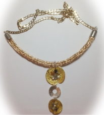 22kt Gold and Fine Silver Lily Pad Pendant with Raw Diamonds on 14kt Gold Viking Knit Necklace, 10kt Gold Chain and Clasp by Veronica Stewart at The Avenue Gallery, a contemporary fine art gallery in Victoria, BC, Canada.