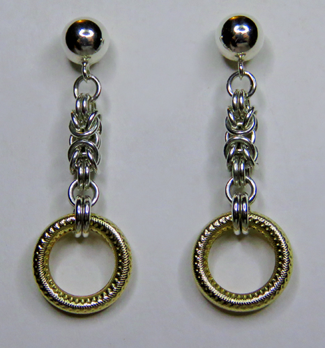 Sterling Silver Byzantine Earrings with Formed & Dot-Textured Gold-Filled Rings by Anne Kelly at The Avenue Gallery, a contemporary fine art gallery in Victoria, BC, Canada.