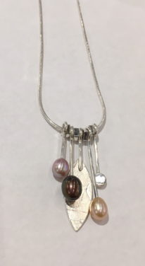 Freshwater Pearls Dangly Necklace by Brenda Roy at The Avenue Gallery, a contemporary fine art gallery in Victoria, BC, Canada.