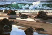 West coast painting,  Late Day Breakers by Gaye Adams at The Avenue Gallery, a contemporary fine art gallery in Victoria, BC, Canada.