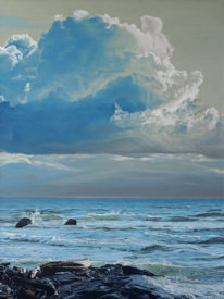 Windy Shore, oil on canvas by Ron Parker at The Avenue Gallery, a contemporary art gallery in Victoria British Columbia, Canada.