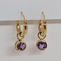 14kt. Yellow Gold Tube Hoop Earrings with Amethyst 'Bella' Enhancers by Devine Fine Jewellery at The Avenue Gallery in Victoria, BC, Canada.