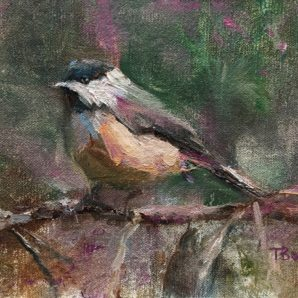Chickadee Dee Dee by Tanya Bone at The Avenue Gallery, a contemporary fine art gallery in Victoria, BC, Canada.