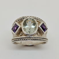 Larger Tapered Silver Byzantine Ring with Lime Quartz and Amethyst by Kevin Cremin at The Avenue Gallery in Victoria, BC, Canada.