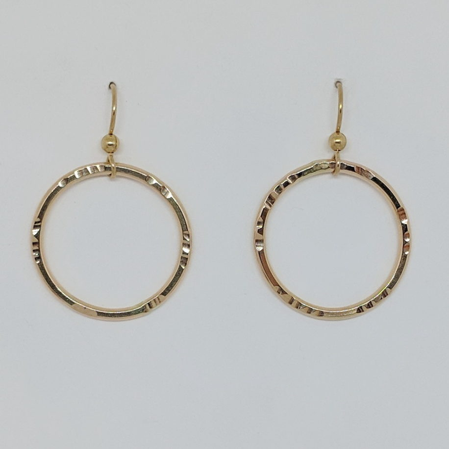 Circular Gold-Filled Earrings by Doreen Schneider at The Avenue Gallery, a contemporary fine art gallery in Victoria, BC, Canada.
