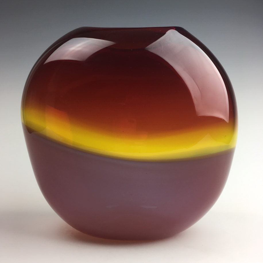 Abstract Landscape Vase (Red/Russet Red) by Lisa Samphire at The Avenue Gallery, a contemporary fine art gallery in Victoria, BC, Canada
