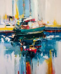 Green Sailboat by Yared Nigussu at The Avenue Gallery, a contemporary fine art gallery in Victoria, BC, Canada