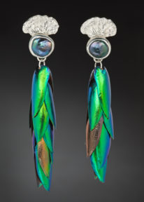 Jewel Beetle Wing Earrings by Andrea Russell at The Avenue Gallery, a contemporary fine art gallery in Victoria, BC, Canada