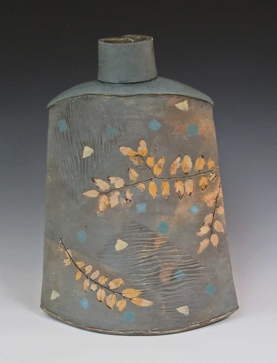 Yellow Huckleberry Grey Blue Vase by Sandra Dolph at The Avenue Gallery, a contemporary fine art gallery in Victoria, BC, Canada
