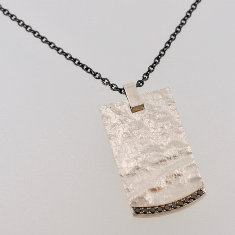 Sterling Silver, 14kt. Palladium White Gold & Black Diamond Pendant by Bayot Heer at The Avenue Gallery, a contemporary fine art gallery in Victoria, BC, Canada.