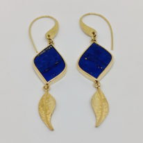 18kt. Yellow Gold Earrings with Lapis Lazuli by Dietje Hagedoorn at The Avenue Gallery, a contemporary fine art gallery in Victoria, BC, Canada.