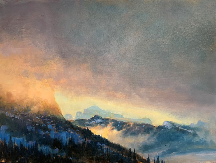 Broken Light Over Mountains, Banff National Park by Brent Lynch at The Avenue Gallery, a contemporary fine art gallery in Victoria, BC, Canada.