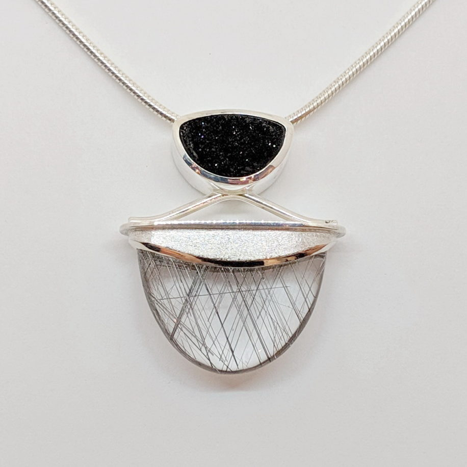 Sterling Silver Pendant with Druzy and Quartz by Dietje Hagedoorn at The Avenue Gallery, a contemporary fine art gallery in Victoria, BC, Canada