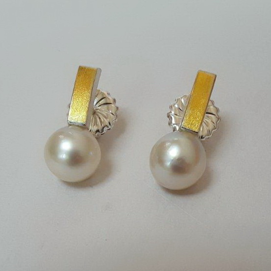 Japanese Cultured Saltwater Pearl Earrings by Andrea Roberts at The Avenue Gallery, a contemporary fine art gallery in Victoria, BC, Canada.