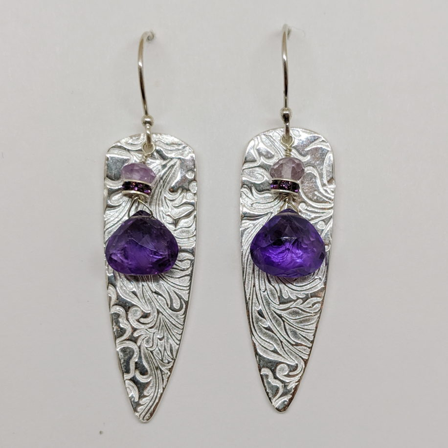 Large Textured Shield Earrings with Amethyst by Veronica Stewart at The Avenue Gallery, a contemporary fine art gallery in Victoria, BC, Canada.