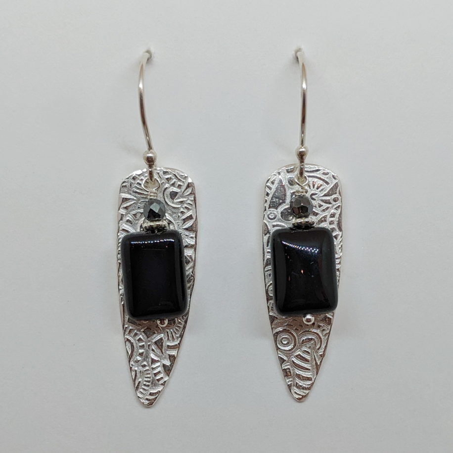 Medium Textured Shield Earrings with Onyx by Veronica Stewart at The Avenue Gallery, a contemporary fine art gallery in Victoria, BC, Canada.