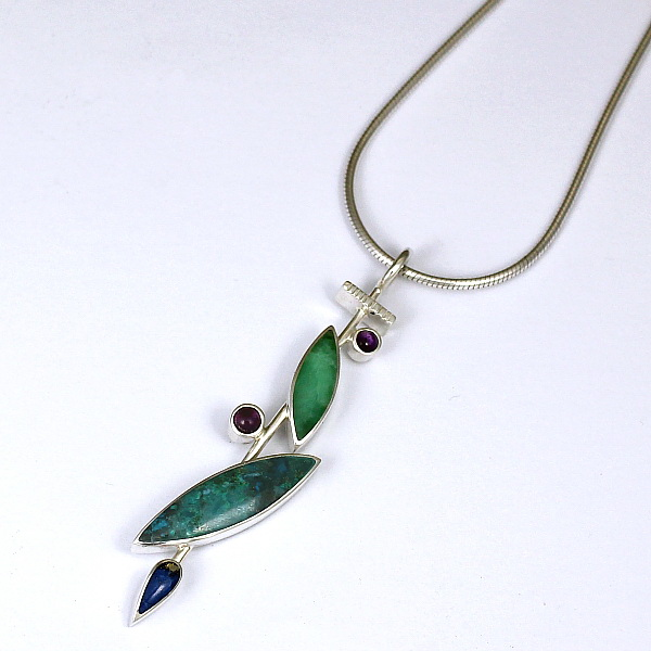 Chrysocolla, Chrysoprase, Lapis & Amethyst Pendant by Brenda Roy at The Avenue Gallery, a contemporary fine art gallery in Victoria, BC, Canada.