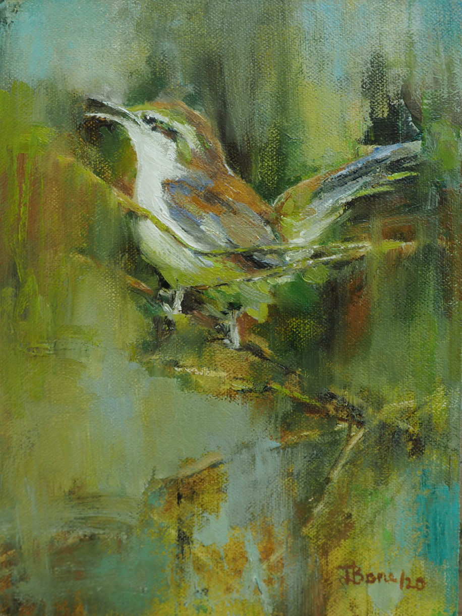 This Mere Singing Wren by Tanya Bone at The Avenue Gallery, a contemporary fine art gallery in Victoria, BC, Canada.