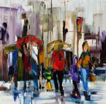 Something About An Umbrella III by Kimberly Kiel at The Avenue Gallery, a contemporary fine art gallery in Victoria, BC, Canada.