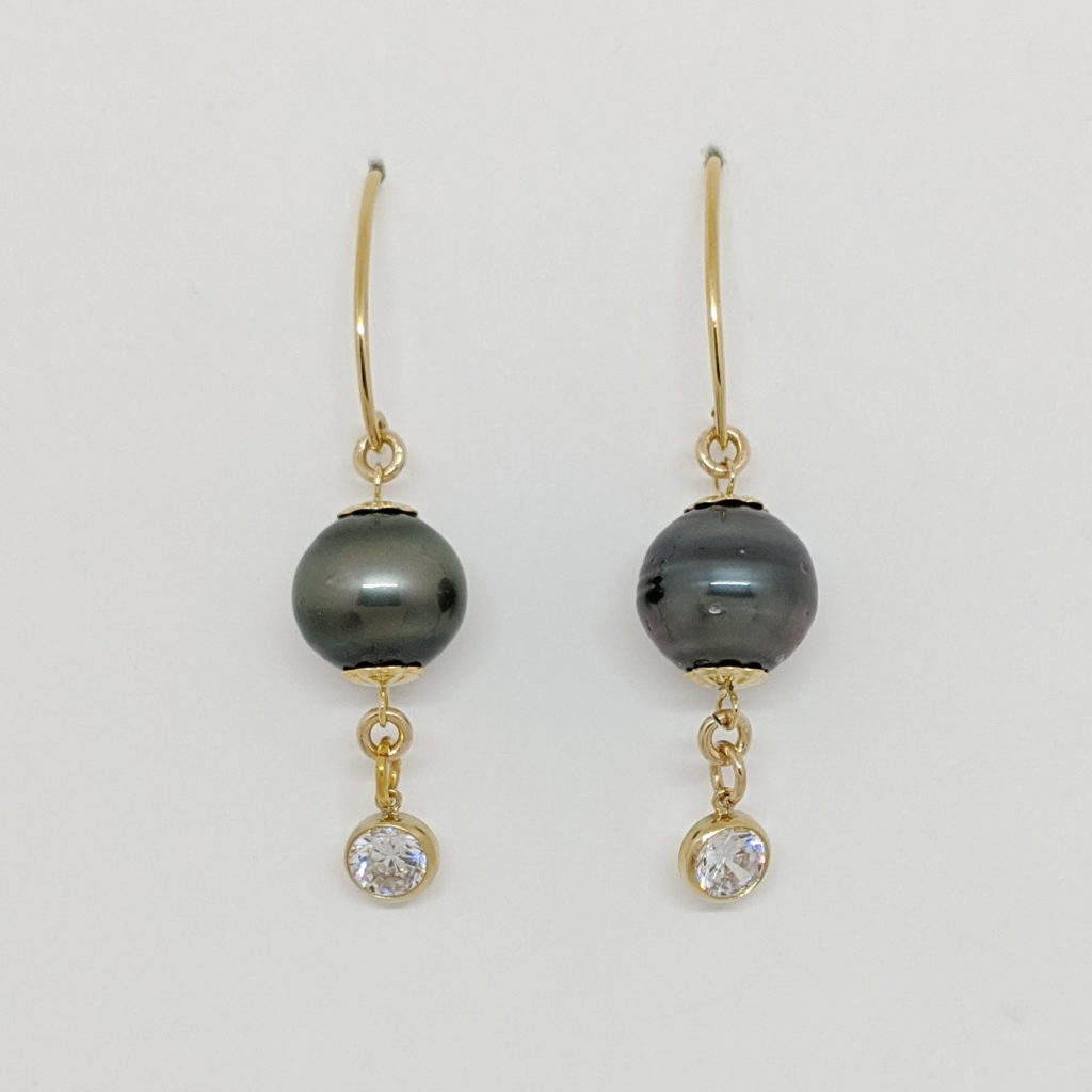 Yellow Gold-Filled Earrings with Tahitian Pearl & CZ by Val Nunns at The Avenue Gallery, a contemporary fine art gallery in Victoria, BC, Canada