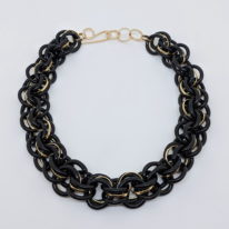 Black Chain Necklace with Brass Rings by Minori Takagi at The Avenue Gallery, a contemporary fine art gallery in Victoria, BC, Canada.
